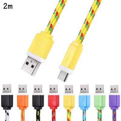 2M Micro USB Flat Braided Synchronization Charger Cable