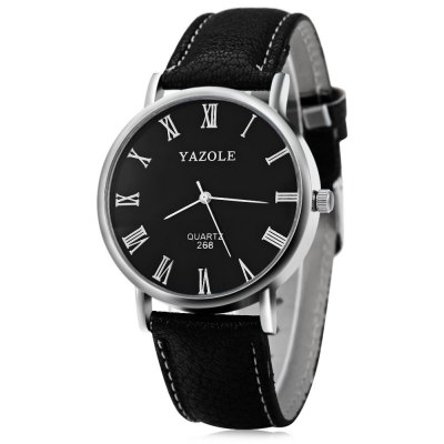 YAZOLE 268 Blue Light Analog Quartz Watch with Leather Band for Men