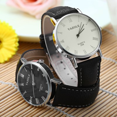 Фотография YAZOLE 268 Blue Light Analog Quartz Watch with Leather Band for Men