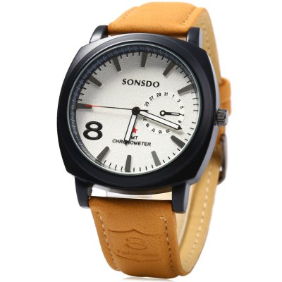 SONSDO 6923 Male Quartz Watch with Leather Strap