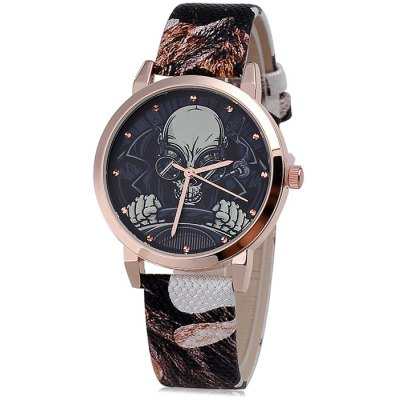 KEZZI BSL833 Skull Style Male Quartz Watch Leather Band