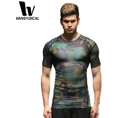 Vansydical Male Slim Camouflage T-shirt