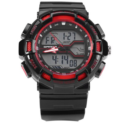 Sanda 726 Male LED Sports WatchSports Watches<br>Sanda 726 Male LED Sports Watch<br><br>Brand: Sanda<br>People: Male table<br>Watch style: Outdoor Sports,LED<br>Available color: Red,Blue,Green,Black,White<br>Shape of the dial: Round<br>Movement type: Double-movtz<br>Display type: Analog-Digital<br>Hour formats: 12/24 Hour<br>Case material: PC<br>Band material: Rubber<br>Clasp type: Pin buckle<br>Special features: EL Back-light,Day,Date,Stopwatch,Alarm Clock<br>Water resistance : 30 meters<br>The dial thickness: 1.5 cm / 0.59 inches<br>The dial diameter: 5.0 cm / 1.97 inches<br>The band width: 2.2 cm / 0.9 inches<br>Wearable length: 15.5 - 22 cm / 6.1 - 8.66 inches<br>Product weight: 0.060 kg<br>Package weight: 0.090 kg<br>Product size (L x W x H): 26.500 x 5.000 x 1.500 cm / 10.433 x 1.969 x 0.591 inches<br>Package size (L x W x H): 27.500 x 6.000 x 2.500 cm / 10.827 x 2.362 x 0.984 inches<br>Package Contents: 1 x Sanda 726 Watch, 1 x Chinese and English Manual
