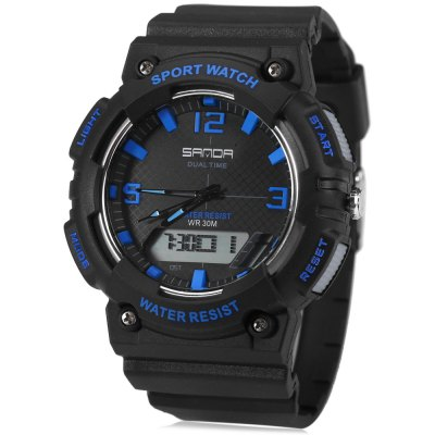 Sanda 734 Multifunctional Dual Movt Men LED Sports WatchSports Watches<br>Sanda 734 Multifunctional Dual Movt Men LED Sports Watch<br><br>Brand: Sanda<br>People: Male table<br>Watch style: Outdoor Sports,LED<br>Available color: Red,Blue,Green,Gold,Black<br>Shape of the dial: Round<br>Movement type: Double-movtz<br>Display type: Analog-Digital<br>Case material: PC<br>Band material: Rubber<br>Clasp type: Pin buckle<br>Special features: EL Back-light,Day,Date,Stopwatch,Alarm Clock<br>Water resistance : 30 meters<br>The dial thickness: 1.5 cm / 0.59 inches<br>The dial diameter: 5.0 cm / 2.0 inches<br>The band width: 2.2 cm / 0.87 inches<br>Wearable length: 15.5 - 22 cm / 6.1 - 8.66 inches<br>Product weight: 0.056 kg<br>Package weight: 0.086 kg<br>Product size (L x W x H): 26.000 x 5.000 x 1.500 cm / 10.236 x 1.969 x 0.591 inches<br>Package size (L x W x H): 27.000 x 6.000 x 2.500 cm / 10.630 x 2.362 x 0.984 inches<br>Package Contents: 1 x Sanda 734 Watch