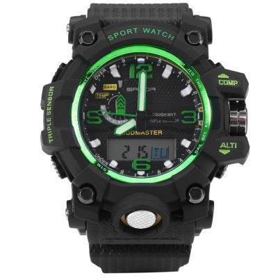 Sanda 732 Men LED Sports WatchSports Watches<br>Sanda 732 Men LED Sports Watch<br><br>Brand: Sanda<br>People: Male table<br>Watch style: Outdoor Sports,LED<br>Available color: Red,Blue,Green,Gold,Black<br>Shape of the dial: Round<br>Movement type: Double-movtz<br>Display type: Analog-Digital<br>Case material: PC<br>Band material: Rubber<br>Clasp type: Pin buckle<br>Special features: EL Back-light,Day,Date,Stopwatch,Luminous,Alarm Clock<br>Water resistance : 30 meters<br>The dial thickness: 1.5 cm / 0.59 inches<br>The dial diameter: 5.5 cm / 2.2 inches<br>The band width: 2.2 cm / 0.87 inches<br>Wearable length: 15.5 - 22 cm / 6.1 - 8.66 inches<br>Product weight: 0.069 kg<br>Package weight: 0.099 kg<br>Product size (L x W x H): 26.000 x 5.500 x 1.500 cm / 10.236 x 2.165 x 0.591 inches<br>Package size (L x W x H): 27.000 x 6.500 x 2.500 cm / 10.630 x 2.559 x 0.984 inches<br>Package Contents: 1 x Sanda 732 Watch