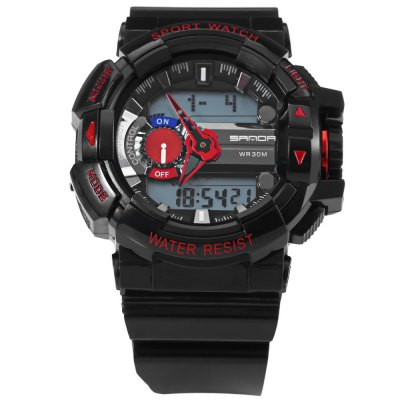 Sanda 599 Sports LED Watch Water Resistant Wristwatch