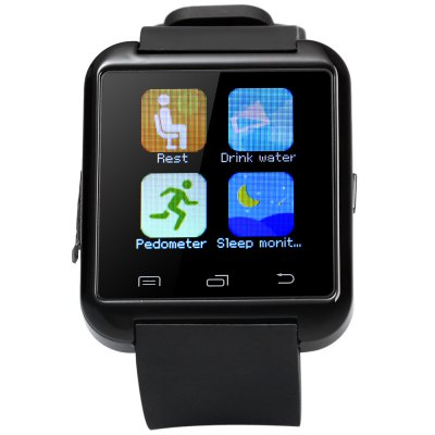 U8S Smart Bluetooth 3.0 Watch Outdoor Sports SmartwatchSmart Watches<br>U8S Smart Bluetooth 3.0 Watch Outdoor Sports Smartwatch<br><br>Bluetooth version: Bluetooth 3.0<br>Bluetooth calling: Call log sync,Dialing,Phone call reminder,Phonebook<br>Messaging: Message checking,Message reminder,Message sending<br>Health tracker: Pedometer,Sleep monitor<br>Remote Control: Camera remote,Music remote<br>Notification: Yes<br>Anti-lost: Yes<br>Other Functions: Alarm,Calculator,Calender,Stopwatch<br>Groups of alarm: 1 group<br>Locking screen : 3 kinds<br>Screen: LED<br>People: Unisex watch<br>Shape of the dial: Rectangle<br>Case material: Plastic<br>Band material: Rubber<br>Compatible OS: Android<br>Compatability: Android 3.0 and above system<br>Language: Dutch,English,French,German,Italian,Portuguese,Spanish<br>Product size (L x W x H): 25.40 x 4.00 x 1.20 cm / 10 x 1.57 x 0.47 inches<br>Package size (L x W x H): 11.00 x 8.00 x 5.00 cm / 4.33 x 3.15 x 1.97 inches<br>Product weight: 0.043 kg<br>Package weight: 0.140 kg<br>Package Contents: 1 x U8S Watch, 1 x Charging Cable, 1 x English Manual