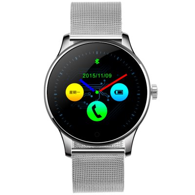 K88H Smart Bluetooth Watch Heart Rate Monitor SmartwatchSmart Watches<br>K88H Smart Bluetooth Watch Heart Rate Monitor Smartwatch<br><br>Bluetooth version: Bluetooth 4.0<br>RAM: 64MB<br>Waterproof Rating : IP54<br>Waterproof: Yes<br>Bluetooth calling: Call log sync,Dialing,Phone call reminder,Phonebook<br>Messaging: Message checking,Message reminder<br>Health tracker: Heart rate monitor,Pedometer,Sedentary reminder,Sleep monitor<br>Remote Control: Camera remote,Music remote<br>Notification: Yes<br>Find phone: Yes<br>Other Functions: Alarm,Calculator,Siri function,Stopwatch<br>Groups of alarm: 5 groups<br>Alert type: Ring,Vibration<br>Locking screen : 6 kinds<br>Screen: IPS<br>Screen resolution: 240 x 240<br>Screen size: 1.2 inch<br>Battery Type: Polymer batteries<br>Battery Capacity: 300mAh<br>People: Unisex watch<br>Shape of the dial: Round<br>Case material: Metal<br>Band material: Stainless Steel<br>Compatible OS: Android,IOS<br>Compatability: Android 4.4 / iOS 7.0 and above system<br>Language: Dutch,English,French,German,Italian,Polish,Portuguese,Russian,Spanish<br>Dial size: 4.4 x 4.4 x 1.2 cm / 1.73 x 1.73 x 0.47 inches<br>The band width: 2.2 cm / 0.87 inches<br>Product size (L x W x H): 25.00 x 4.40 x 1.20 cm / 9.84 x 1.73 x 0.47 inches<br>Package size (L x W x H): 19.30 x 6.70 x 5.20 cm / 7.6 x 2.64 x 2.05 inches<br>Product weight: 0.077 kg<br>Package weight: 0.230 kg<br>Package Contents: 1 x K88H Smart Watch, 1 x USB Charging Cable, 1 x English and Chinese Manual