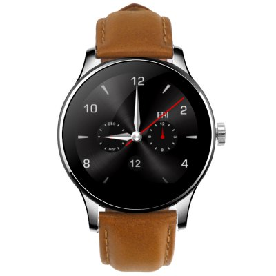 K88H Bluetooth Smart WatchSmart Watches<br>K88H Bluetooth Smart Watch<br><br>Alert type: Vibration, Ring<br>Band material: Stainless Steel<br>Battery Capacity: 300mAh<br>Battery Type: Polymer batteries<br>Bluetooth calling: Call log sync,Dialing,Phone call reminder,Phonebook<br>Bluetooth Version: Bluetooth 4.0<br>Case material: Metal<br>Compatability: Android 4.4 / iOS 7.0 and above system<br>Compatible OS: IOS, Android<br>Dial size: 4.4 x 4.4 x 1.2 cm / 1.73 x 1.73 x 0.47 inches<br>Find phone: Yes<br>Groups of alarm: 5 groups<br>Health tracker: Heart rate monitor,Pedometer,Sedentary reminder,Sleep monitor<br>Language: Dutch,English,French,German,Italian,Polish,Portuguese,Russian,Spanish<br>Locking screen : 6 kinds<br>Messaging: Message checking,Message reminder<br>Notification: Yes<br>Other Functions: Stopwatch, Alarm, Calculator, Siri function<br>Package Contents: 1 x K88H Smart Watch, 1 x USB Charging Cable, 1 x English and Chinese Manual<br>Package size (L x W x H): 19.30 x 6.70 x 5.20 cm / 7.6 x 2.64 x 2.05 inches<br>Package weight: 0.230 kg<br>People: Unisex watch<br>Product size (L x W x H): 25.00 x 4.40 x 1.20 cm / 9.84 x 1.73 x 0.47 inches<br>Product weight: 0.077 kg<br>RAM: 64MB<br>Remote Control: Camera remote,Music remote<br>ROM: 128MB<br>Screen: IPS<br>Screen resolution: 240 x 240<br>Screen size: 1.2 inch<br>Shape of the dial: Round<br>The band width: 2.2 cm / 0.87 inches<br>Waterproof: Yes<br>Waterproof Rating : IP54