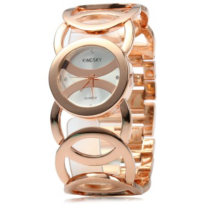Kingsky 3809 Female Quartz Watch with Hollow-out Alloy Strap
