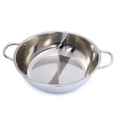 36cm Stainless Steel Duck Hot PotDinnerware<br>36cm Stainless Steel Duck Hot Pot<br><br>Type: Stainless Steel Duck Hot Pot<br>For: Duck hot pot, cooker, special little sheep pot<br>Material: Stainless Steel<br>Features: Two partition for meeting different taste need<br>Color: Silver<br>Product weight: 0.595 kg<br>Package weight: 0.760 kg<br>Product size (L x W x H): 36.000 x 36.000 x 9.000 cm / 14.173 x 14.173 x 3.543 inches<br>Package size (L x W x H): 36.500 x 36.500 x 9.500 cm / 14.370 x 14.370 x 3.740 inches<br>Package Contents: 1 x Thick Stainless Steel Duck Hot Pot Cooker Special Little Sheep Pot Ruled 36cm