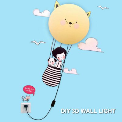 Cartoon 3D LED Wall Light with DIY WallpaperWall Lights<br>Cartoon 3D LED Wall Light with DIY Wallpaper<br><br>Type: Wall Light,Night Light<br>Shade Material: Plastic<br>LED Lifespan: 30000h<br>Luminous Flux: 100LM<br>Plug Type: EU plug<br>Input Voltage: AC 220V<br>Product weight: 0.540KG<br>Package weight: 0.610 KG<br>Product size (L x W x H): 28.000 x 28.000 x 7.000 cm / 11.024 x 11.024 x 2.756 inches<br>Package size (L x W x H): 30.000 x 30.000 x 10.000 cm / 11.811 x 11.811 x 3.937 inches<br>Package Contents: 1 x LED Wall Light, 1 x Wall Sticker
