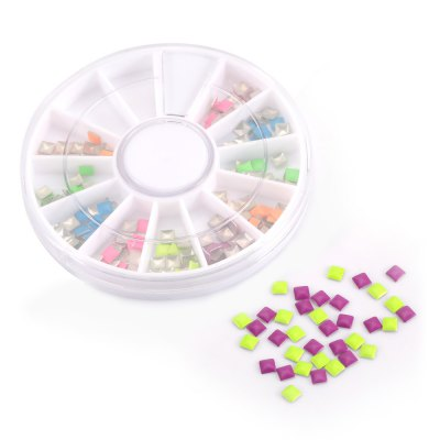 Multicolor 3D Square Rivet Stickers DIY Decoration Wheel Beauty Studs Nail Art Tips Tool