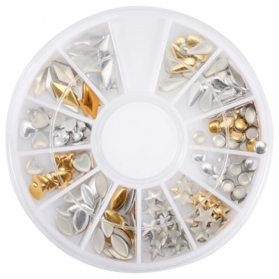 12 Shapes 3D Gold Nail Art Jewelry Alloy Slice Golden Stud