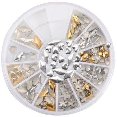 12 Shapes 3D Metal Nail Art Decoration Adhesive Rivet Studs