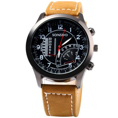 SONSDO 6886 Male Quartz Watch with Decorative Sub-dialMens Watches<br>SONSDO 6886 Male Quartz Watch with Decorative Sub-dial<br><br>Brand: SONSDO<br>Watches categories: Male table<br>Watch style: Fashion<br>Available color: Brown<br>Movement type: Quartz watch<br>Shape of the dial: Round<br>Display type: Analog<br>Case material: Stainless Steel<br>Band material: Leather<br>Clasp type: Pin buckle<br>Special features: Decorating small sub-dials<br>The dial thickness: 1.0 cm / 0.39 inches<br>The dial diameter: 4.2 cm / 1.65 inches<br>The band width: 2.0 cm / 0.79 inches<br>Wearable length: 17.5 - 22 cm / 6.89 - 8.66 inches<br>Product weight: 0.047 kg<br>Package weight: 0.077 kg<br>Product size (L x W x H): 25.000 x 4.200 x 1.000 cm / 9.843 x 1.654 x 0.394 inches<br>Package size (L x W x H): 26.000 x 5.200 x 2.000 cm / 10.236 x 2.047 x 0.787 inches<br>Package Contents: 1 x SONSDO Quartz Watch
