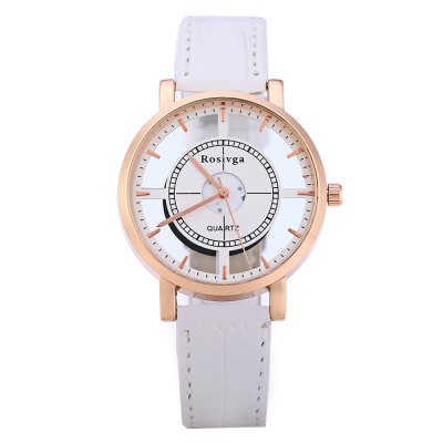 Rosivga 1310 Transparent Dial Female Quartz WatchWomens Watches<br>Rosivga 1310 Transparent Dial Female Quartz Watch<br><br>Brand: Rosivga<br>Watches categories: Female table<br>Available color: White and Black,Brown,Black,White<br>Style: Fashion&amp;Casual<br>Movement type: Quartz watch<br>Shape of the dial: Round<br>Display type: Analog<br>Case material: Alloy<br>Band material: Leather<br>Clasp type: Pin buckle<br>The dial thickness: 0.9 cm / 0.35 inches<br>The dial diameter: 3.8 cm / 1.50 inches<br>The band width: 1.6 cm / 0.63 inches<br>Wearable length: 18 - 22 cm / 7.09 - 8.66 inches<br>Product weight: 0.025KG<br>Package weight: 0.056 KG<br>Product size (L x W x H): 23.500 x 3.800 x 0.900 cm / 9.252 x 1.496 x 0.354 inches<br>Package size (L x W x H): 26.500 x 5.500 x 1.200 cm / 10.433 x 2.165 x 0.472 inches<br>Package Contents: 1 x Rosivga Female Quartz Watch