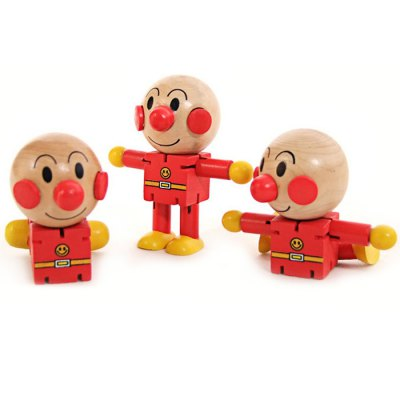 Cartoon Puppet Changeable Anpanman Joint Movable Wooden Image Toy