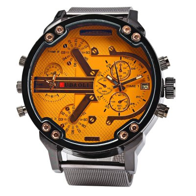 JUBAOLI Men Double Movt Quartz Watch with Date FunctionMens Watches<br>JUBAOLI Men Double Movt Quartz Watch with Date Function<br><br>Brand: Jubaoli<br>Watches categories: Male table<br>Watch style: Fashion<br>Style elements: Big dial<br>Available color: Green,Orange,Gray,Black<br>Movement type: Double-movtz<br>Shape of the dial: Round<br>Display type: Analog<br>Case material: Stainless Steel<br>Band material: Stainless Steel<br>Special features: Date,Decorating small sub-dials<br>The dial thickness: 1.2 cm / 0.47 inches<br>The dial diameter: 6.0 cm / 2.36 inches<br>The band width: 2.3 cm / 0.91 inches<br>Wearable length: 18.0 - 22.3 cm / 7.09 - 8.86 inches<br>Product weight: 0.118 kg<br>Package weight: 0.150 kg<br>Product size (L x W x H): 24.400 x 6.000 x 1.200 cm / 9.606 x 2.362 x 0.472 inches<br>Package size (L x W x H): 25.500 x 7.000 x 2.200 cm / 10.039 x 2.756 x 0.866 inches<br>Package Contents: 1 x JUBAOLI Men Double Movt Quartz Watch