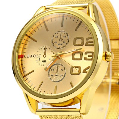 JUBAOLI Big Dial Wristwatch Men Quartz Watch Steel BandMens Watches<br>JUBAOLI Big Dial Wristwatch Men Quartz Watch Steel Band<br><br>Brand: Jubaoli<br>Watches categories: Male table<br>Watch style: Business<br>Style elements: Big dial<br>Available color: Gold,Black,White<br>Movement type: Quartz watch<br>Shape of the dial: Round<br>Display type: Analog<br>Case material: Stainless Steel<br>Case color: Gold<br>Band material: Steel<br>Clasp type: Pin buckle<br>Band color: Gold<br>Special features: Decorating small sub-dials<br>The dial thickness: 0.9 cm / 0.35 inches<br>The dial diameter: 4.3 cm / 1.69 inches<br>The band width: 1.8 cm / 0.71 inches<br>Wearable length: 17.0 - 21.5 cm / 6.69 - 8.46 inches<br>Product weight: 0.055 kg<br>Package weight: 0.085 kg<br>Product size (L x W x H): 23.500 x 4.300 x 0.900 cm / 9.252 x 1.693 x 0.354 inches<br>Package size (L x W x H): 24.500 x 5.300 x 2.000 cm / 9.646 x 2.087 x 0.787 inches<br>Package Contents: 1 x JUBAOLI Men Quartz Watch