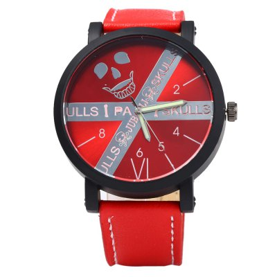JUBAOLI Skull Pattern Men Quartz Watch with Leather BandMens Watches<br>JUBAOLI Skull Pattern Men Quartz Watch with Leather Band<br><br>Brand: Jubaoli<br>Watches categories: Male table<br>Watch style: Casual<br>Style elements: Big dial<br>Available color: Red,Blue,Yellow,Black,White<br>Movement type: Quartz watch<br>Shape of the dial: Round<br>Display type: Analog<br>Case material: Stainless Steel<br>Band material: Leather<br>Clasp type: Pin buckle<br>The dial thickness: 1.0 cm / 0.39 inches<br>The dial diameter: 4.5 cm / 1.77 inches<br>The band width: 2.2 cm / 0.87 inches<br>Wearable length: 19.5 - 24.0 cm / 7.68 - 9.45 inches<br>Product weight: 0.061KG<br>Package weight: 0.095 KG<br>Product size (L x W x H): 26.500 x 4.500 x 1.000 cm / 10.433 x 1.772 x 0.394 inches<br>Package size (L x W x H): 27.500 x 5.500 x 2.000 cm / 10.827 x 2.165 x 0.787 inches<br>Package Contents: 1 x JUBAOLI Male Quartz Watch