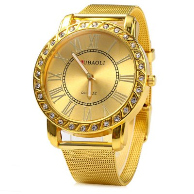 JUBAOLI Male Diamond Quartz Watch Steel Net Band