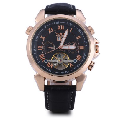 JARAGAR H057M Male Tourbillon Automatic Mechanical WatchMens Watches<br>JARAGAR H057M Male Tourbillon Automatic Mechanical Watch<br><br>Brand: Jaragar<br>Watches categories: Male table<br>Watch style: Hollow-out<br>Style elements: Hollow Out<br>Movement type: Automatic mechanical watch<br>Shape of the dial: Round<br>Display type: Analog<br>The bottom of the table: Gone<br>Watch-head: Screw-plug<br>Case material: Stainless Steel<br>Band material: Leather<br>Clasp type: Pin buckle<br>Special features: Working sub-dial,Calendar,Month,Date,Week,Luminous,Tourbillon<br>Water resistance : Life water resistant<br>The dial thickness: 1.3 cm / 0.51 inches<br>The dial diameter: 4.5 cm / 1.77 inches<br>The band width: 2 cm / 0.79 inches<br>Wearable length: 19 - 23 cm / 7.48 - 9.06 inches<br>Product weight: 0.084 kg<br>Package weight: 0.144 kg<br>Product size (L x W x H): 25.50 x 4.50 x 1.30 cm / 10.04 x 1.77 x 0.51 inches<br>Package size (L x W x H): 26.50 x 5.50 x 2.30 cm / 10.43 x 2.17 x 0.91 inches<br>Package Contents: 1 x JARAGAR H057M Tourbillion Automatic Mechanical Watch
