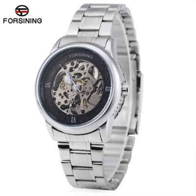 Forsining A694 Male Hollow Automatic Mechanical Watch Steel Band