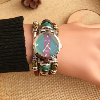 pqsz p-011 Retro Quartz Watch Women Beads Wristwatch Leather BandWomens Watches<br>pqsz p-011 Retro Quartz Watch Women Beads Wristwatch Leather Band<br><br>Watches categories: Female table<br>Available color: Brown<br>Style: Bracelet,Retro<br>Movement type: Quartz watch<br>Shape of the dial: Round<br>Display type: Analog<br>Case material: Alloy<br>Band material: Leather<br>Clasp type: Buckle<br>The dial thickness: 1.0 cm / 0.4 inches<br>The dial diameter: 2.3 cm / 0.91 inches<br>Product weight: 0.050 kg<br>Package weight: 0.080 kg<br>Product size (L x W x H): 20.000 x 2.300 x 1.000 cm / 7.874 x 0.906 x 0.394 inches<br>Package size (L x W x H): 21.000 x 3.300 x 2.000 cm / 8.268 x 1.299 x 0.787 inches<br>Package Contents: 1 x Watch