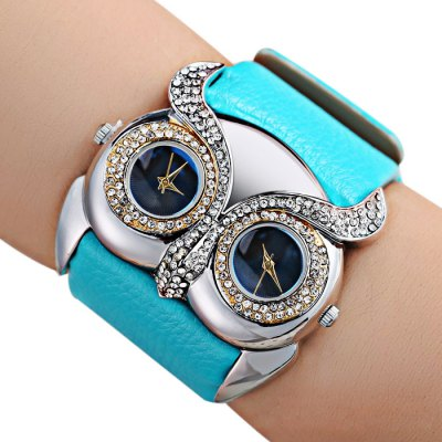 Cute Owl Dial Female Dual Movt Diamond Quartz WatchWomens Watches<br>Cute Owl Dial Female Dual Movt Diamond Quartz Watch<br><br>Watches categories: Female table<br>Available color: Red,Blue,Orange,Black,White<br>Style: Fashion&amp;Casual<br>Movement type: Quartz watch<br>Display type: Analog<br>Case material: Stainless Steel<br>Band material: Leather<br>Clasp type: Pin buckle<br>The dial thickness: 0.8 cm / 0.3 inches<br>The dial diameter: 3.0 cm / 1.18 inches<br>Product weight: 0.050 kg<br>Package weight: 0.080 kg<br>Product size (L x W x H): 20.000 x 3.000 x 0.800 cm / 7.874 x 1.181 x 0.315 inches<br>Package size (L x W x H): 21.000 x 4.000 x 1.800 cm / 8.268 x 1.575 x 0.709 inches<br>Package Contents: 1 x Watch