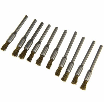 10PCS Pen Shape Brass Wire Polishing Brush Grinder Rotary Tools