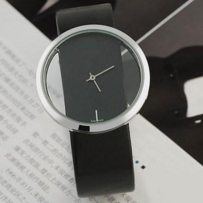 Women Quartz Watch with Transparent Dial Leather Band