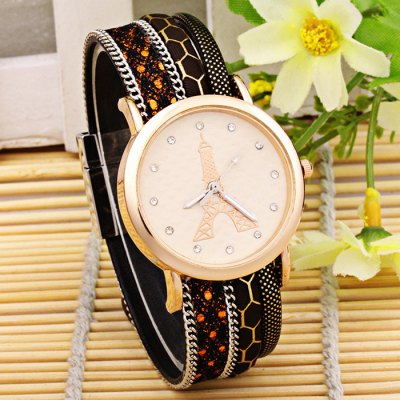 Women Diamond Quartz Watch Eiffel Tower Pattern WristwatchWomens Watches<br>Women Diamond Quartz Watch Eiffel Tower Pattern Wristwatch<br><br>Watches categories: Female table<br>Available color: Red,Blue,Brown,Plum,Black,White<br>Style: Diamond<br>Movement type: Quartz watch<br>Shape of the dial: Round<br>Display type: Analog<br>Case material: Stainless Steel<br>Band material: Cloth<br>Clasp type: Buckle<br>The dial thickness: 2.0 cm / 0.79 inches<br>The dial diameter: 4.0 cm / 1.57 inches<br>Product weight: 0.040 kg<br>Package weight: 0.070 kg<br>Product size (L x W x H): 24.000 x 4.000 x 2.000 cm / 9.449 x 1.575 x 0.787 inches<br>Package size (L x W x H): 25.000 x 5.000 x 3.000 cm / 9.843 x 1.969 x 1.181 inches<br>Package Contents: 1 x Women Quartz Watch