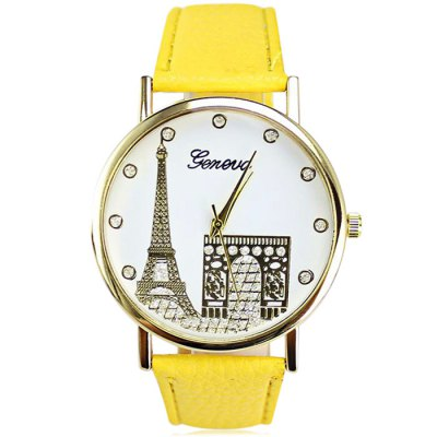 Geneva Eiffel Tower Pattern Diamond Quartz Watch for LadiesWomens Watches<br>Geneva Eiffel Tower Pattern Diamond Quartz Watch for Ladies<br><br>Brand: Geneva<br>Watches categories: Female table<br>Available color: Red,Blue,Green,Purple,Brown,Yellow,Black,White<br>Style: Diamond<br>Movement type: Quartz watch<br>Shape of the dial: Round<br>Display type: Analog<br>Case material: Stainless Steel<br>Band material: Leather<br>Clasp type: Pin buckle<br>The dial thickness: 2.0 cm / 0.79 inches<br>The dial diameter: 4.0 cm / 1.57 inches<br>Product weight: 0.040 kg<br>Package weight: 0.070 kg<br>Product size (L x W x H): 24.000 x 4.000 x 2.000 cm / 9.449 x 1.575 x 0.787 inches<br>Package size (L x W x H): 25.000 x 5.000 x 3.000 cm / 9.843 x 1.969 x 1.181 inches<br>Package Contents: 1 x Geneva Women Quartz Watch