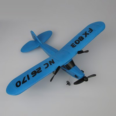 Flybear FX - 803 Glider RTFRC Airplanes<br>Flybear FX - 803 Glider RTF<br><br>Brand: Flybear<br>Features: Radio Control<br>Function: Forward/backward,Turn left/right,Up/down<br>Material: EPP<br>Remote Control: 2.4GHz Wireless Remote Control<br>Channel: 2-Channels<br>Mode: Mode 2(Left Hand Throttle)<br>Detailed Control Distance: About 120m<br>Transmitter Power: 6 x 1.5V AA battery (not included)<br>Power: Configuration battery<br>Battery Capacity: 3.7V 150mA<br>Flying Time: 10-13mins<br>Charging time: 30min<br>Product weight: 0.250 kg<br>Package weight: 0.525 kg<br>Product size (L x W x H): 25.50 x 33.00 x 8.00 cm / 10.04 x 12.99 x 3.15 inches<br>Package size (L x W x H): 43.00 x 33.00 x 8.00 cm / 16.93 x 12.99 x 3.15 inches<br>Package Contents: 1 x Glider, 1 x Transmitter, 1 x USB Cable, 1 x Battery, 1 x Landing Gear, 2 x Propeller, 1 x English Manual