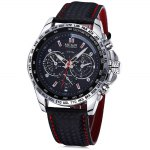 Megir 3789 Men Quartz Watch with Genuine Leather Band