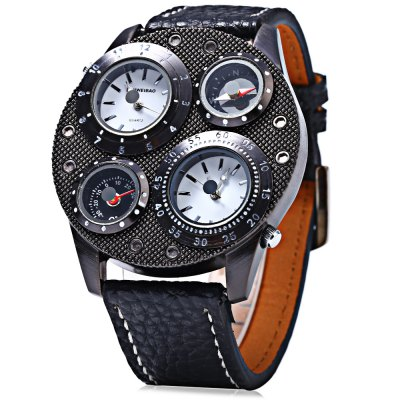 Shiweibao 1145 Dual Quartz Movt Watch with Leather Band - ShiweibaoMens Watches<br>Shiweibao 1145 Dual Quartz Movt Watch with Leather Band<br><br>Brand: Shiweibao<br>Watches categories: Male table<br>Watch style: Fashion<br>Available color: Silver,Black<br>Movement type: Quartz watch<br>Shape of the dial: Round<br>Display type: Analog<br>Case material: Alloy<br>Band material: Leather<br>Clasp type: Pin buckle<br>Special features: Decorating compass,Decorating thermometer<br>The dial thickness: 1.2 cm / 0.47 inches<br>The dial diameter: 5.0 cm / 2.00 inches<br>Product weight: 0.090 kg<br>Package weight: 0.140 kg<br>Product size (L x W x H): 27.800 x 5.000 x 1.200 cm / 10.945 x 1.969 x 0.472 inches<br>Package size (L x W x H): 11.000 x 5.000 x 1.000 cm / 4.331 x 1.969 x 0.394 inches<br>Package Contents: 1 x Watch