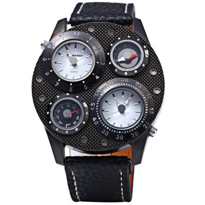 Shiweibao 1145 Dual Quartz Movt Watch with Leather Band