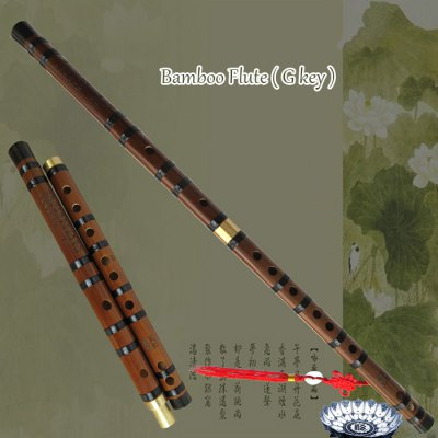 Chinese Musical Instrument Bamboo Flute G Key with Brass Joint 1PKG