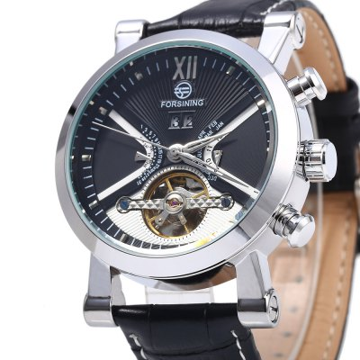Forsining Men Tourbillon Automatic Mechanical WatchMens Watches<br>Forsining Men Tourbillon Automatic Mechanical Watch<br><br>Brand: Forsining<br>Watches categories: Male table<br>Watch style: Casual,Fashion<br>Movement type: Self-winding Mechanical<br>Shape of the dial: Round<br>Display type: Analog<br>Hour formats: 12 Hour<br>Case material: Stainless Steel<br>Band material: Leather<br>Clasp type: Pin buckle<br>Band color: Black<br>Special features: Calendar,Month,Day,Date<br>Water resistance : Life water resistant<br>The dial thickness: 1.2 cm / 0.47 inches<br>The dial diameter: 4.2 cm / 1.65 inches<br>The band width: 2 cm / 0.87 inches<br>Wearable length: 19 - 23 cm / 7.48 - 9.06 inches<br>Product weight: 0.088 kg<br>Package weight: 0.148 kg<br>Product size (L x W x H): 25.000 x 4.600 x 1.200 cm / 9.843 x 1.811 x 0.472 inches<br>Package size (L x W x H): 26.000 x 5.600 x 2.200 cm / 10.236 x 2.205 x 0.866 inches<br>Package Contents: 1 x Forsining Men Mechanical Watch