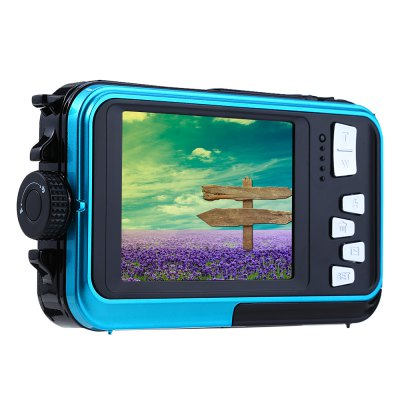 Double Screens Waterproof Digital CameraCamcorders<br>Double Screens Waterproof Digital Camera<br><br>Other function: Microphone,Anti-Shake,Face Detection,Smile Capture<br>Language: Turkish,Traditional Chinese,English,French,Spanish,Portuguese,Russian,German,Italian,Dutch,Japanese,Chinese<br>Sensor: 5MP CMOS<br>Special performance: Microphone,Face Detection,Smile Capture,HD,Waterproof,Optical anti-shake,Flash<br>Digital zoom: 16X<br>Battery Type: Lithium Battery<br>Battery Capacity: 550mAh<br>Video Resolution: 1280 x 720,640 x 480,1920 x 1080<br>Lens type: Fix<br>Scene: Auto / Night portrait,Night scenery,Portrait,Scenery,High sensitivity,Sports,Beach<br>White Balance: Incandescent,Auto,Fluorescent,Cloudy,Daylight<br>Image quality: Excellent,Good,Normal<br>ISO: 100,200,400,Auto<br>Exposure Compensation: -3EV,+3EV<br>Self-timer: 10s,5s,2s,OFF<br>File format: JPEG,AVI<br>Interface: USB 2.0 interface,TF Card Slot<br>System requirements: Vista,Win7,Mac,Windows XP<br>Pixel: &gt;1300w<br>Effective pixel: &gt;1300w<br>Display size (inch): 2.7<br>Screen type: Double screens<br>Image resolutions: 3264 x 2448 (8MP),3072 x 2304 (7MP),2592 x 1944 (5MP),2048 x 1536 (3MP),3648 x 2048 (7MP HD),1920 x 1080 (2MP HD),4608 x 3456 (16M),4896 x 3672 (18M),640 x 480 (VGA),5600 x 4200 (24MP),5200 x 3900 (20<br>Memory support : TF card<br>External memory storage(Maximum, not included): TF card up to 32GB<br>Product weight: 0.013 kg<br>Package weight: 0.360 kg<br>Product size (L x W x H): 14.000 x 6.300 x 2.500 cm / 5.512 x 2.480 x 0.984 inches<br>Package size (L x W x H): 15.300 x 6.200 x 16.000 cm / 6.024 x 2.441 x 6.299 inches<br>Package Contents: 1 x Camera, 1 x Battery, 1 x USB Cable ( 0.8m ), 1 x US Plug Charger Adapter, 1 x Strip, 1 x Storage Pouch, 1 x English User Manual