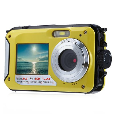 Double Screens Waterproof Digital CameraDigital Camera<br>Double Screens Waterproof Digital Camera<br><br>Other function: Microphone,Anti-Shake,Face Detection,Smile Capture<br>Language: Turkish,Traditional Chinese,English,French,Spanish,Portuguese,Russian,German,Italian,Dutch,Japanese,Chinese<br>Sensor: 5MP CMOS<br>Special performance: Microphone,Face Detection,Smile Capture,HD,Waterproof,Optical anti-shake,Flash<br>Digital zoom: 16X<br>Battery Type: Lithium Battery<br>Battery Capacity: 550mAh<br>Video Resolution: 1280 x 720,640 x 480,1920 x 1080<br>Lens type: Fix<br>Scene: Auto / Night portrait,Night scenery,Portrait,Scenery,High sensitivity,Sports,Beach<br>White Balance: Incandescent,Auto,Fluorescent,Cloudy,Daylight<br>Image quality: Excellent,Good,Normal<br>ISO: 100,200,400,Auto<br>Exposure Compensation: -3EV,+3EV<br>Self-timer: 10s,5s,2s,OFF<br>File format: JPEG,AVI<br>Interface: USB 2.0 interface,TF Card Slot<br>System requirements: Vista,Win7,Mac,Windows XP<br>Pixel: &gt;1300w<br>Effective pixel: &gt;1300w<br>Display size (inch): 2.7<br>Screen type: Double screens<br>Image resolutions: 3264 x 2448 (8MP),3072 x 2304 (7MP),2592 x 1944 (5MP),2048 x 1536 (3MP),3648 x 2048 (7MP HD),1920 x 1080 (2MP HD),4608 x 3456 (16M),4896 x 3672 (18M),640 x 480 (VGA),5600 x 4200 (24MP),5200 x 3900 (20<br>Memory support : TF card<br>External memory storage(Maximum, not included): TF card up to 32GB<br>Product weight: 0.013KG<br>Package weight: 0.360 KG<br>Product size (L x W x H): 14.000 x 6.300 x 2.500 cm / 5.512 x 2.48 x 0.984 inches<br>Package size (L x W x H): 15.300 x 6.200 x 16.000 cm / 6.024 x 2.441 x 6.299 inches<br>Package Contents: 1 x Camera, 1 x Battery, 1 x USB Cable ( 0.8m ), 1 x US Plug Charger Adapter, 1 x Strip, 1 x Storage Pouch, 1 x English User Manual