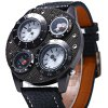 best Shiweibao 1145 Dual Quartz Movt Watch with Leather Band