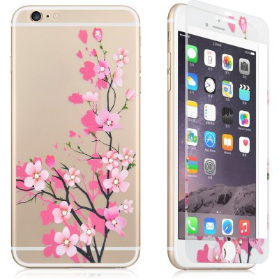 Angibabe 2 in 1 Tepmered Glass Screen Film Back Protector for iPhone 6 Plus / 6S Plus Flower