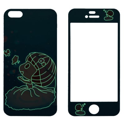 Фотография Angibabe 2 in 1 Tempered Glass Screen Film and Back Protector for iPhone 5 / 5S Bride Pattern