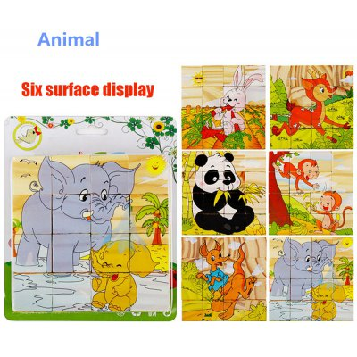 16Pcs Wooden 3D Puzzle Block Animal Jigsaw Child Educational Toy