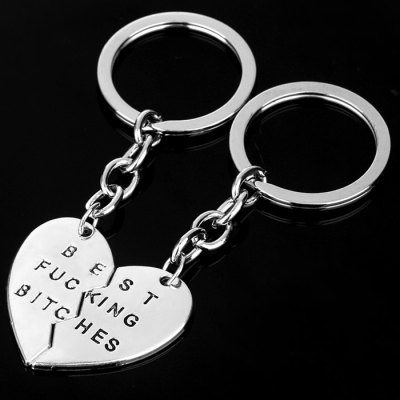 1 Pair Split Heart Zinc Alloy Key Chain Best Fucking Bitches Engraved Gift