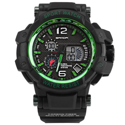 ФОТО Sanda 729 Dual Movt Male LED Sports Watch Water Resistance
