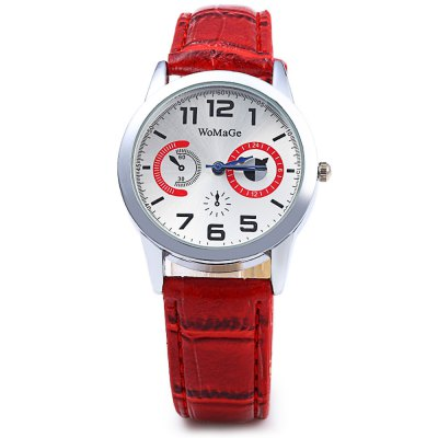 Womage 1248 Women Quartz Watch wtih Leather BandWomens Watches<br>Womage 1248 Women Quartz Watch wtih Leather Band<br><br>Brand: WoMaGe<br>Watches categories: Female table<br>Available color: Black and white,Red,Blue,Brown,Black,White<br>Style: Fashion&amp;Casual<br>Movement type: Quartz watch<br>Shape of the dial: Round<br>Display type: Analog<br>Case material: Stainless Steel<br>Band material: Leather<br>Clasp type: Pin buckle<br>Special features: Decorating small sub-dials<br>The dial thickness: 0.7 cm / 0.28 inches<br>The dial diameter: 3.5 cm / 1.39 inches<br>The band width: 1.8 cm / 0.71 inches<br>Wearable length: 17.5 - 22 cm / 6.89 - 8.66 inches<br>Product weight: 0.036 kg<br>Package weight: 0.066 kg<br>Product size (L x W x H): 24.000 x 3.500 x 0.700 cm / 9.449 x 1.378 x 0.276 inches<br>Package size (L x W x H): 25.000 x 4.500 x 1.700 cm / 9.843 x 1.772 x 0.669 inches<br>Package Contents: 1 x Womage Watch