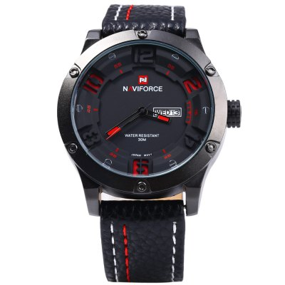 Naviforce 9070 Day Date Display Men Quartz WatchMens Watches<br>Naviforce 9070 Day Date Display Men Quartz Watch<br><br>Brand: Naviforce<br>Watches categories: Male table<br>Watch style: Fashion<br>Available color: Black and white,Red,Brown,Orange,Yellow,Black<br>Movement type: Quartz watch<br>Shape of the dial: Round<br>Display type: Analog<br>Case material: Stainless Steel<br>Band material: Leather<br>Clasp type: Pin buckle<br>Special features: Day,Date<br>The dial thickness: 1.0 cm / 0.39 inches<br>The dial diameter: 4.8 cm / 1.89 inches<br>The band width: 2.0 cm / 0.79 inches<br>Wearable length: 18 -22.5 cm / 7.09 - 8.86 inches<br>Product weight: 0.086 kg<br>Package weight: 0.116 kg<br>Product size (L x W x H): 27.000 x 4.800 x 1.000 cm / 10.630 x 1.890 x 0.394 inches<br>Package size (L x W x H): 28.000 x 5.800 x 2.000 cm / 11.024 x 2.283 x 0.787 inches<br>Package Contents: 1 x Naviforce 9070 Watch